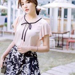 Tokyo Fashion - Pleated Short-Sleeve Chiffon Top