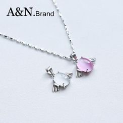 AINIAN - 925 Sterling Silver Gemstone Necklace