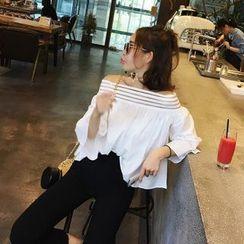 IndiGirl - Off-Shoulder Puff-Sleeve Top
