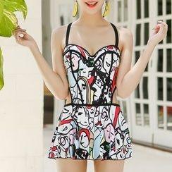 Sirene - Couple Matching Patterned Ruffle Swimsuit