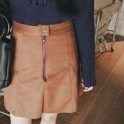 mimi&didi - Zip-Front Faux-Suede Mini Skirt