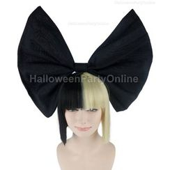 Party Wigs - Party Wig -  Sia Black & Blonde Wig Small Black Bow