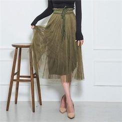ERANZI - Tie-Waist Tulle Maxi Skirt