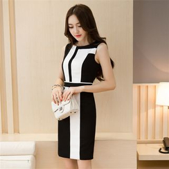 Aurora - Sleeveless Color-Block Sheath Dress
