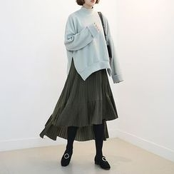 STYLEBYYAM - Band-Waist Pleated Asymmetric-Hem Long Skirt