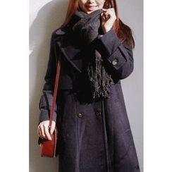 CHERRYKOKO - Wide-Lapel Double-Breasted Coat