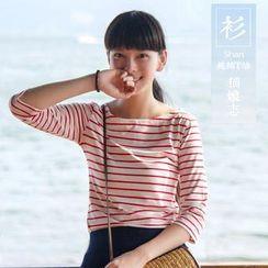Q Four - 3/4-Sleeve Striped T-Shirt