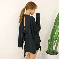 DABAGIRL - Drop-Shoulder Tie-Back Pullover
