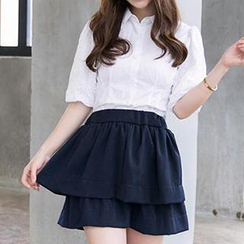 Hamoon - Set: Elbow-Sleeve Blouse + Layered A-Line Skirt