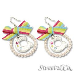 Sweet & Co. - Rainbow Pearly Hoop Swarovski 'C' Earrings