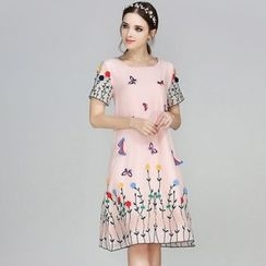 Elabo - Embroidered Short-Sleeve Midi Dress
