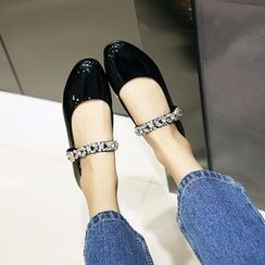 JY Shoes - Rhinestone Genuine Leather Flats