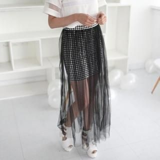 Mini Jule - Plaid Tulle Maxi Skirt