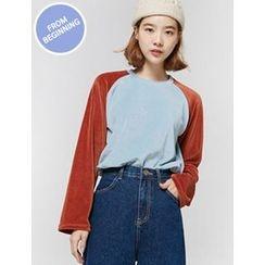 FROMBEGINNING - Raglan-Sleeve Velvet T-Shirt