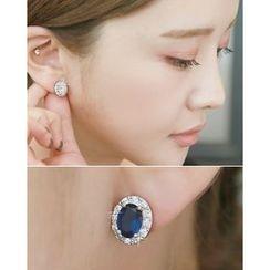 Miss21 Korea - Faux-Gem Oval Stud Earrings