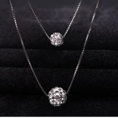 Zundiao - Rhinestone Bead Layered Necklace