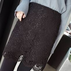 mimi&didi - Lace-Overlay Pencil Skirt