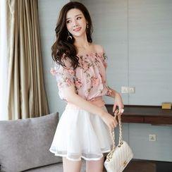 Romantica - 套装: 短袖一字肩印花上衣 + A字短裙