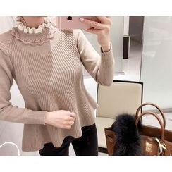 Marlangrouge - Mock-Neck Ruffled Sweater