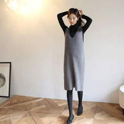 Hello sweety - V-Neck Sleeveless Knit Dress