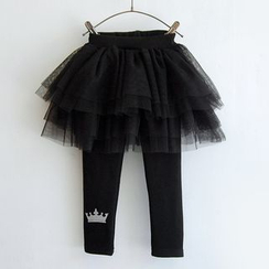 Spring Swallow - Kids Inset Mesh Skirt Leggings