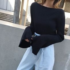 forever fair - Bell-Sleeve Ribbed Knit Top