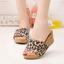 Shoetown - Leopard Print Platform Slide Sandals