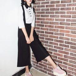 Miss Kekeli - Set: 3/4 Sleeve Contrast Trim Shirt + Suspender Culottes