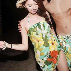 Moonrise Swimwear - Couple Set: Floral Bikini + Cover-Up Dress / Swim Shorts