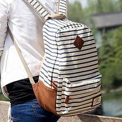 Meringue - Striped Canvas Backpack