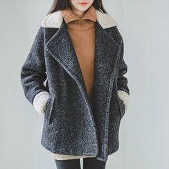 JUSTONE - Fleece-Trim Wool Blend Mélange Pea Coat