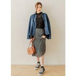 J-ANN - Flower Pattern Pleated Long Skirt