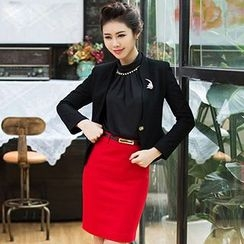 Aision - Scallop Trim Blazer / Blouse / Pencil Skirt