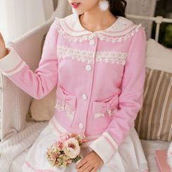 Candy Rain - Lace Trim Woolen Coat