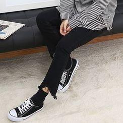 Seoul Fashion - Fray-Hem Boot-Cut Pants