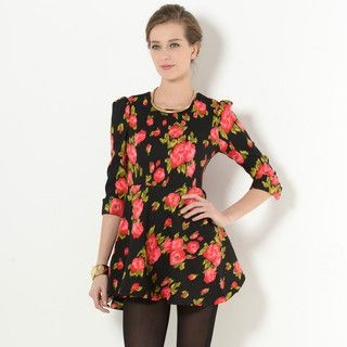 YesStyle Z - Elbow-Sleeve A-Line Floral Mini Dress