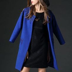 Mythmax - Wool Blend Paneled Jeweled Coat