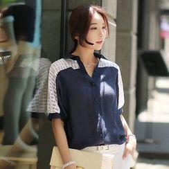 Oaksa - Linen-blend Panel Short-Sleeve Blouse