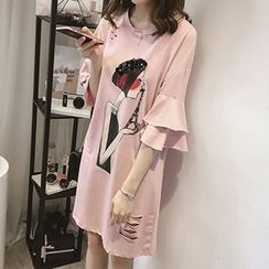 Little V - Printed Frill Trim Dress