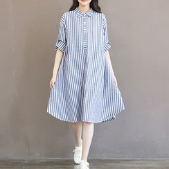 chome - Stripe Midi Shirtdress