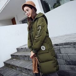 Rosehedge - Patch Embroidered Hooded Long Padded Coat