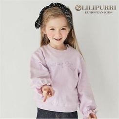 LILIPURRI - Girls Frill-Sleeve Lettering Pullover