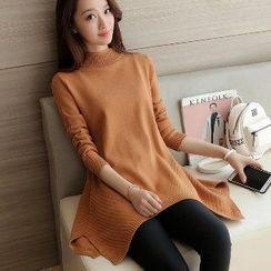 Romantica - Long-Sleeve Mock-Neck Long Sweater