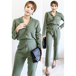 INSTYLEFIT - Collared Long-Sleeve Jumpsuit