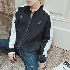 qiaqiayes - Color Block Baseball Jacket