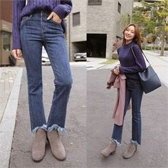 QNIGIRLS - Fringe-Hem Boot-Cut Jeans