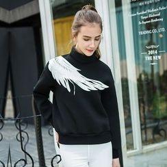 Cherry Dress - Wing Print High Neck Sweatshirt