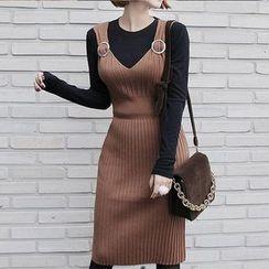 Seoul Fashion - Rib-Knit Jumper Dress