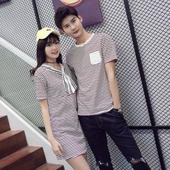 尚雅姿 - 情侣条纹T裇 / T裇连衣裙