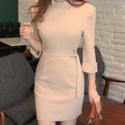 Wild Ivy - 3/4-Sleeve Mock Neck Sheath Dress with Belt